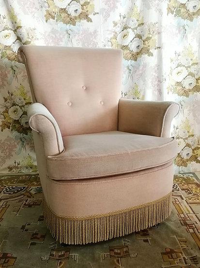 Heel zacht roze velvet fauteuil
