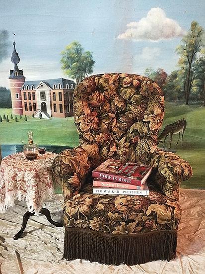 Bloemgobelin Frans antieke fauteuil