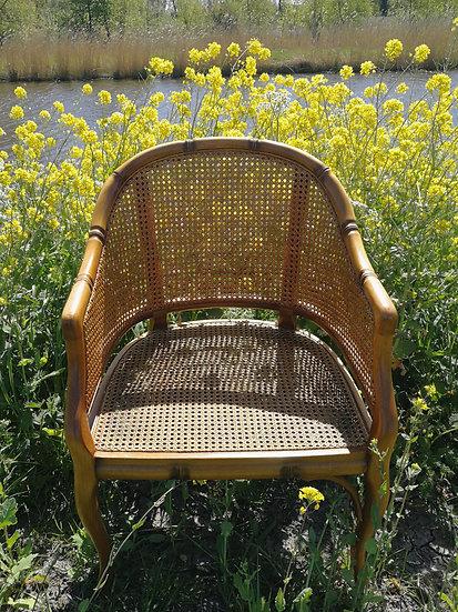 Webbing faux bamboo stoelen