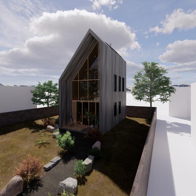 3d vizualizácia exteriéru drevodomu z tmavo šedého dreva na malom pozemku vytvorená v programe Revit a Enscape 4