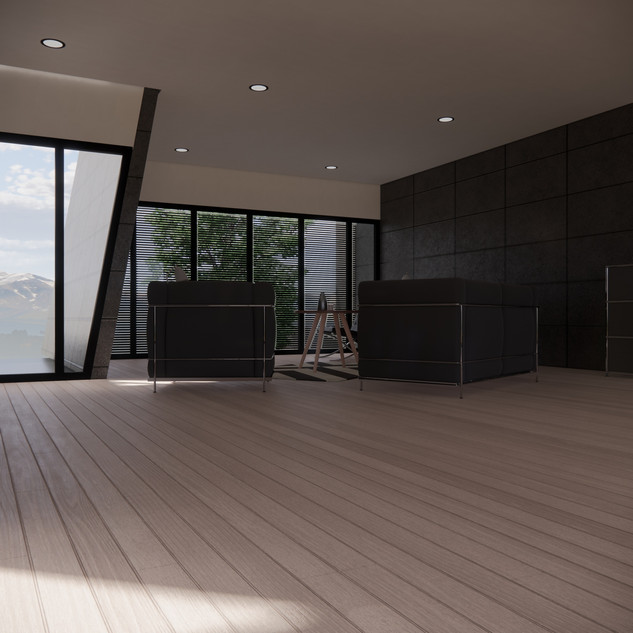 3d vizualizácia interiéru futuristického betónového rodinného domu vytvorená v programe Revit a Enscape