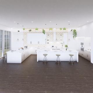 3d vizualizácia interiéru kuchyne z pracovnej dosky z bieleho mramoru a bielych kuchynských skriniek a tmavo hnedej drevenej podlahy