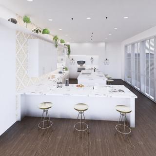 3d vizualizácia interiéru kuchyne z pracovnej dosky z bieleho mramoru a bielych kuchynských skriniek a tmavo hnedej drevenej podlahy 3