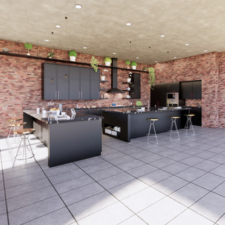 3d vizualizácia interiéru kuchyne z pracovnej dosky z čierneho mramoru a tmavo šedých kuchynských skriniek a betónovej podlahy 2