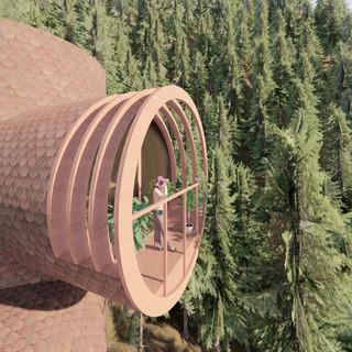 3d vizualizácia exteriéru futuristického domu v korunách stromov z hnedej drevenej fasády vytvorená v programe Revit a Enscape 2
