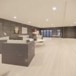 3d vizualizácia interiéru futuristického betónového rodinného domu vytvorená v programe Revit a Enscape 3