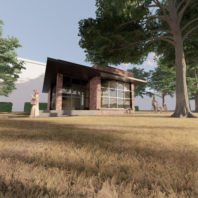 3d vizualizácia exteriéru kaviarne z červenej tehly vytvorená v programe Revit a Enscape 3