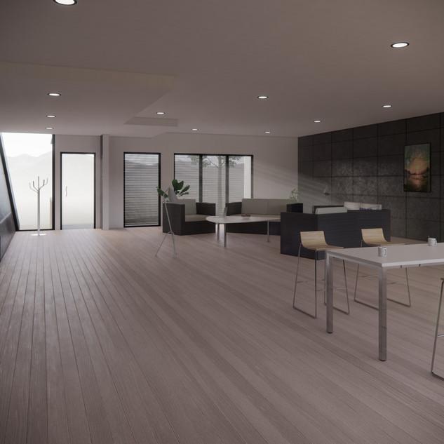 3d vizualizácia interiéru futuristického betónového rodinného domu vytvorená v programe Revit a Enscape 2