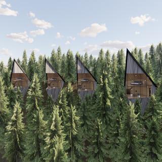 3d vizualizácia exteriéru futuristického domu v korunách stromov z tmavo šedého dreva ako fasády vytvorená v programe Revit a Enscape 4