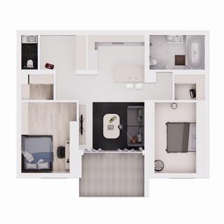 Vizualizácia interiéru 3 izbového bytu