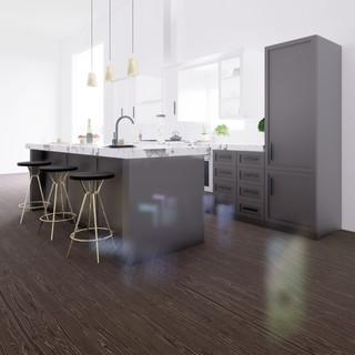 3d vizualizácia interiéru kuchyne z pracovnej dosky z bieleho mramoru a tmavo šedých kuchynských skriniek a tmavo hnedej drevenej podlahy 3