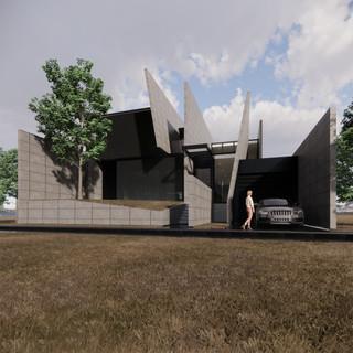 3d vizualizácia exteriéru futuristického betónového rodinného domu vytvorená v programe Revit a Enscape 5