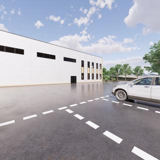 3d vizualizácia exteriéru polyfunkčnej haly z bledo drevenej a bielej fasády vytvorená v programe Revit a Enscape 4