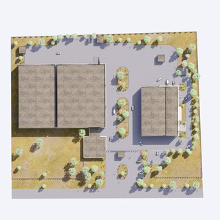 3d vizualizácia exteriéru polyfunkčnej haly z bledo drevenej a bielej fasády vytvorená v programe Revit a Enscape 1