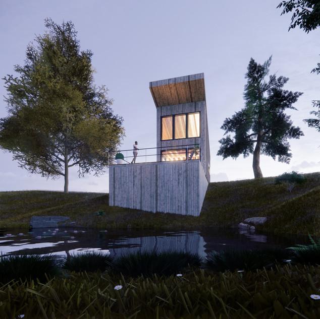 3d vizualizácia exteriéru drevodomu pri jazere a v lese vytvorená v programe Revit a Enscape 5