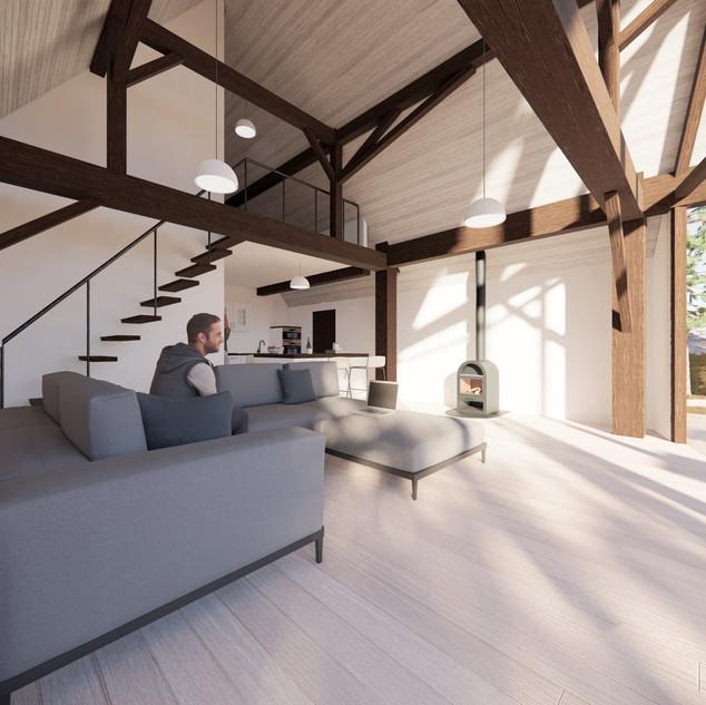 3d vizualizácia interiéru rodinného domu z tmavo hnedého dreveného skeletu a bieleho obkladového dreva vytvorená v programe Revit a Enscape