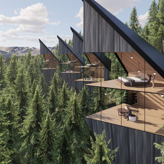 3d vizualizácia exteriéru futuristického domu v korunách stromov z tmavo šedého dreva ako fasády vytvorená v programe Revit a Enscape 3