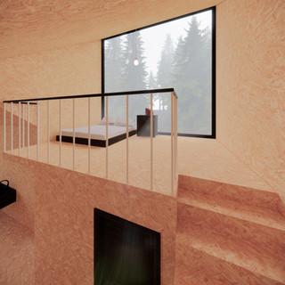 3d vizualizácia interiéru drevodomu vytvorená v programe Revit a Enscape - vnútorný materiál drevotrieska 3
