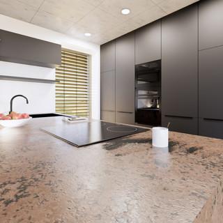 3d vizualizácia interiéru kuchyne a obývačky z pracovnej dosky z bronzu a čiernych kuchynských skriniek a sivej drevenej podlahy 3