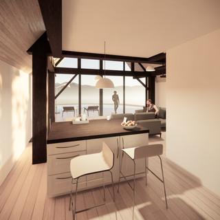 3d vizualizácia interiéru rodinného domu z tmavo hnedého dreveného skeletu a bieleho obkladového dreva vytvorená v programe Revit a Enscape 3