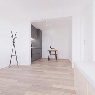 Vizualizácia interiéru prestavby rodinné domu - kuchyňa a chodba