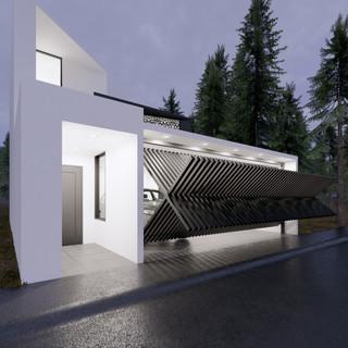 3d vizualizácia exteriéru moderného rodinného domu so špeciálnou segmentovanou bránou  vytvorená v programe Revit a Enscape 5