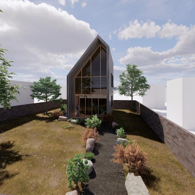 3d vizualizácia exteriéru drevodomu z tmavo šedého dreva na malom pozemku vytvorená v programe Revit a Enscape 3