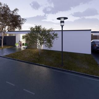 3d vizualizácia exteriéru rodinného domu alebo bungalowu s bielou a drevenou fasádou vytvorená v programe Revit a Enscape 2