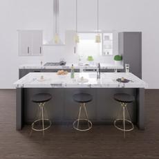 Vizualizacia kuchyne seda + biely mramor