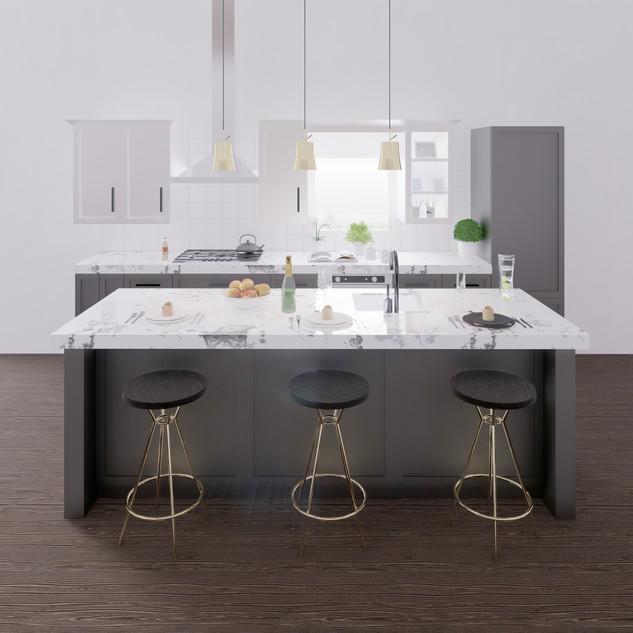 3d vizualizácia interiéru kuchyne z pracovnej dosky z bieleho mramoru a tmavo šedých kuchynských skriniek a tmavo hnedej drevenej podlahy