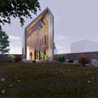 3d vizualizácia exteriéru drevodomu z tmavo šedého dreva na malom pozemku vytvorená v programe Revit a Enscape