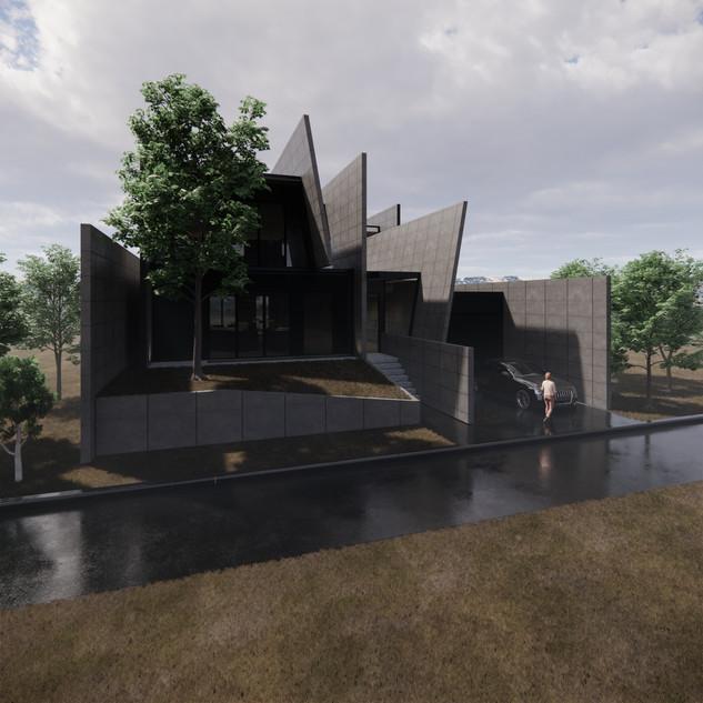 3d vizualizácia exteriéru futuristického betónového rodinného domu vytvorená v programe Revit a Enscape 3