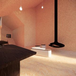 3d vizualizácia interiéru drevodomu vytvorená v programe Revit a Enscape - vnútorný materiál drevotrieska 2