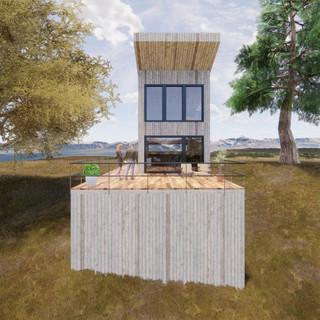3d vizualizácia exteriéru drevodomu pri jazere a v lese vytvorená v programe Revit a Enscape 2