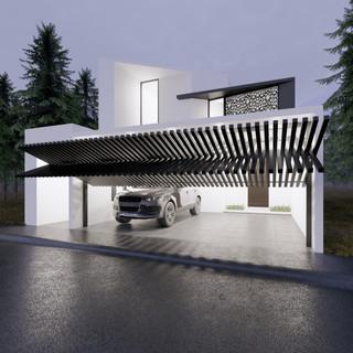 3d vizualizácia exteriéru moderného rodinného domu so špeciálnou segmentovanou bránou  vytvorená v programe Revit a Enscape 3