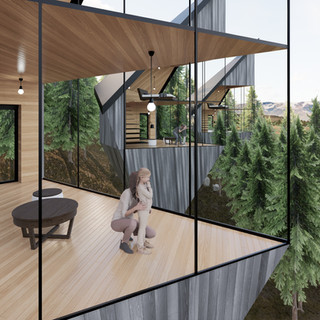 3d vizualizácia interiéru futuristického domu v korunách stromov z bledého elegantného dreva vytvorená v programe Revit a Enscape 2