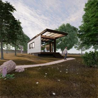 3d vizualizácia exteriéru drevodomu v lese vytvorená v programe Revit a Enscape