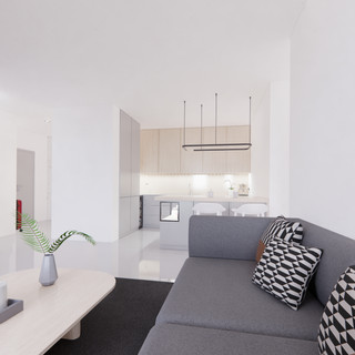Vizualizácia interiéru obývacia izba spolu s kuchyňou