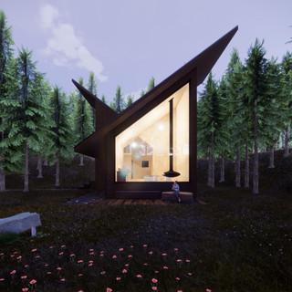 3d vizualizácia exteriéru drevodomu z tmavo hnedého dreva v lese vytvorená v programe Revit a Enscape 4