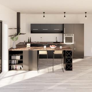 3d vizualizácia interiéru kuchyne z bronzovej pracovnej dosky a tmavo šedých kuchynských skriniek a sivo drevenej podlahy vytvorená v programe Revit 3