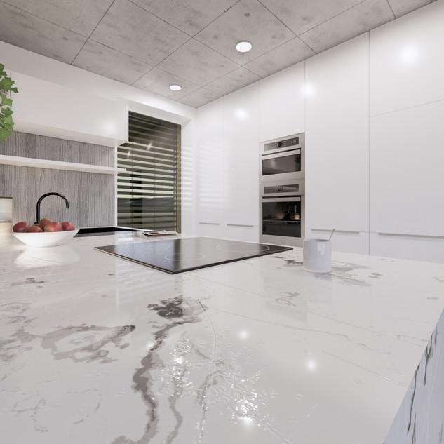 3d vizualizácia interiéru kuchyne z pracovnej dosky z bieleho mramoru a drevených a bielych kuchynských skriniek a sivej drevenej podlahy 3