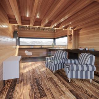 3d vizualizácia interiéru drevodomu vytvorená v programe Revit a Enscape - starý drevený obklad 3