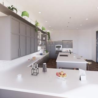 3d vizualizácia interiéru kuchyne z pracovnej dosky z bieleho materiálu a bledo šedých kuchynských skriniek a hnedej drevenej podlahy 3