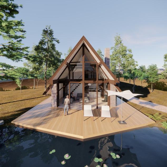3d vizualizácia exteriéru rodinného domu pri jazere z tehly a tmavo hnedého dreveného skeletu vytvorená v programe Revit a Enscape 2