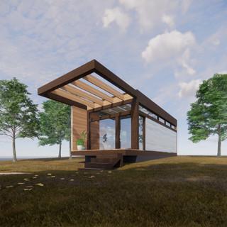 3d vizualizácia exteriéru drevodomu v lese vytvorená v programe Revit a Enscape 4