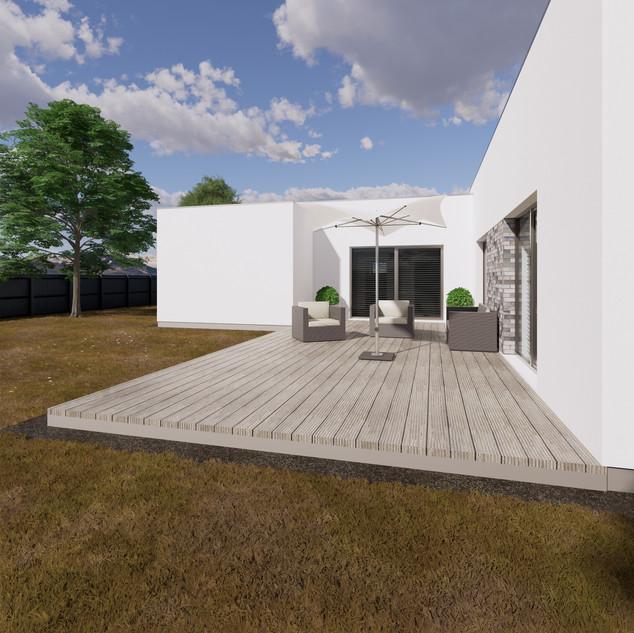 3d vizualizácia exteriéru rodinného domu s bielou fasádou a drevenou terasou na malom pozemku vytvorená v programe Revit a Enscape 2