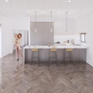 3d vizualizácia interiéru kuchyne z pracovnej dosky z bieleho mramoru a bledo šedých kuchynských skriniek a hnedej drevenej podlahy