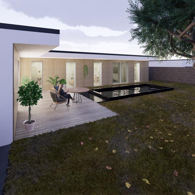 3d vizualizácia exteriéru rodinného domu alebo bungalowu s bielou a drevenou fasádou vytvorená v programe Revit a Enscape 3