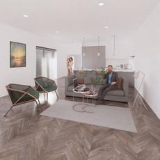 Vizualizácia šedej kuchyna + obývacia miestnosť