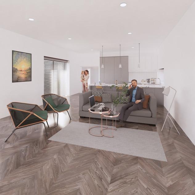 3d vizualizácia interiéru kuchyne spolu s obývačkou z pracovnej dosky z bieleho mramoru a bledo šedých kuchynských skriniek a hnedej drevenej podlahy